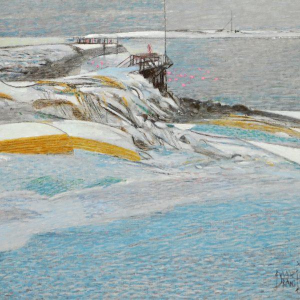 Verschneites Ufer in Vadsö